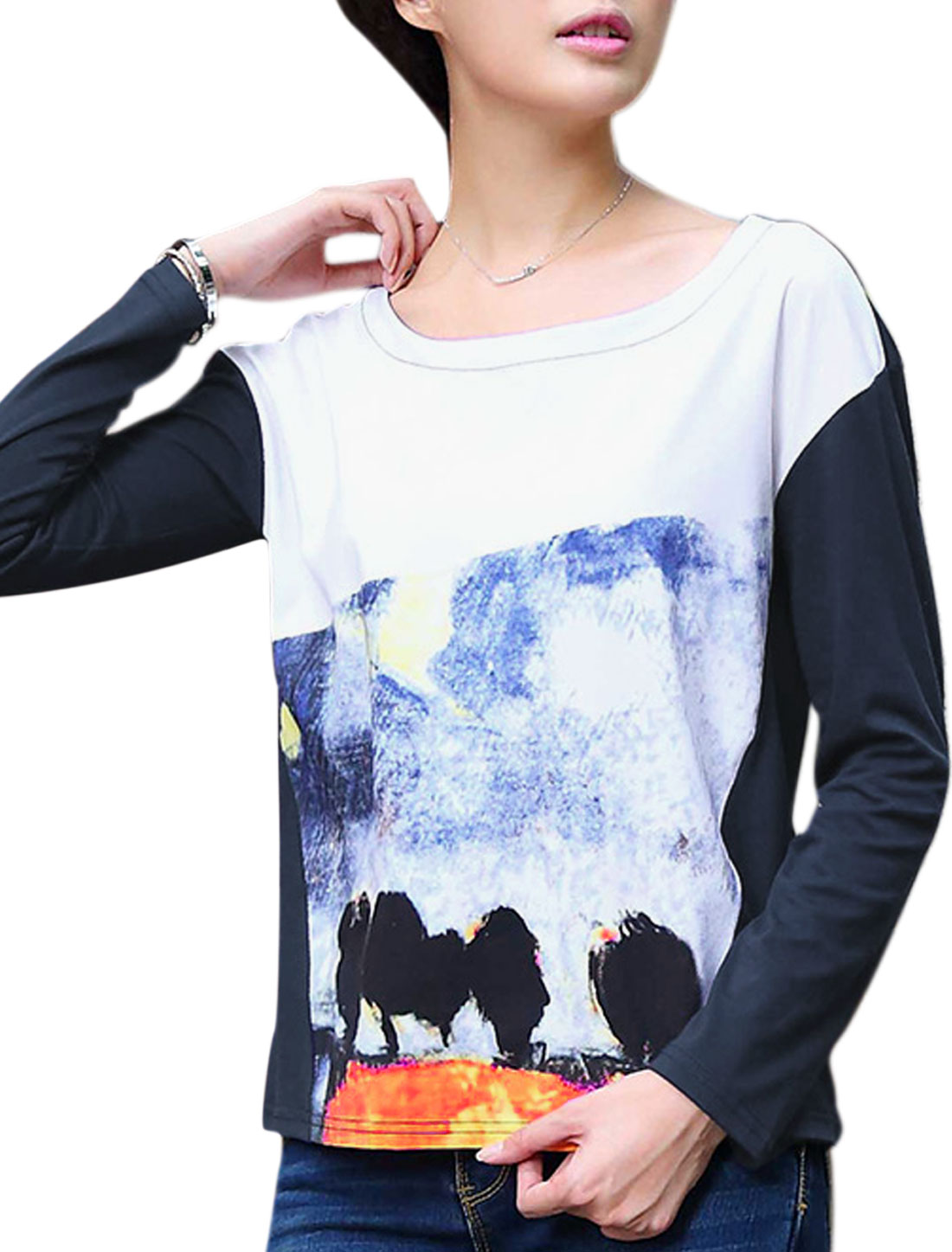 Lady Round Neck Long Sleeve Pullover Casual Tee Shirt Navy Blue S