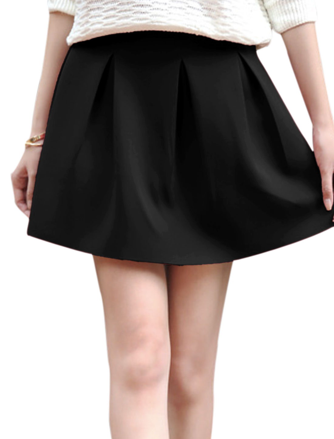 Lady Concealed Zipper Back Ruched Design Casual Skirt Black L