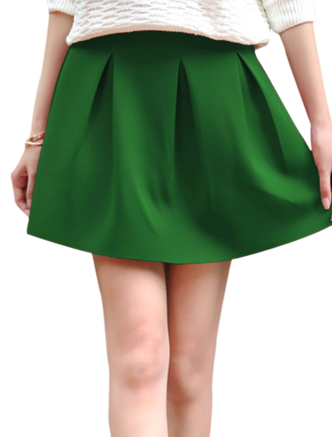 Lady Concealed Zipper Back Round Hem Casual Skirt Green L