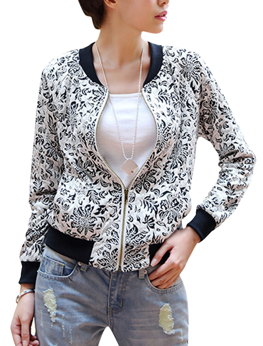 Women Long Sleeve Stand Collar Zip Up Casual Jacket White M