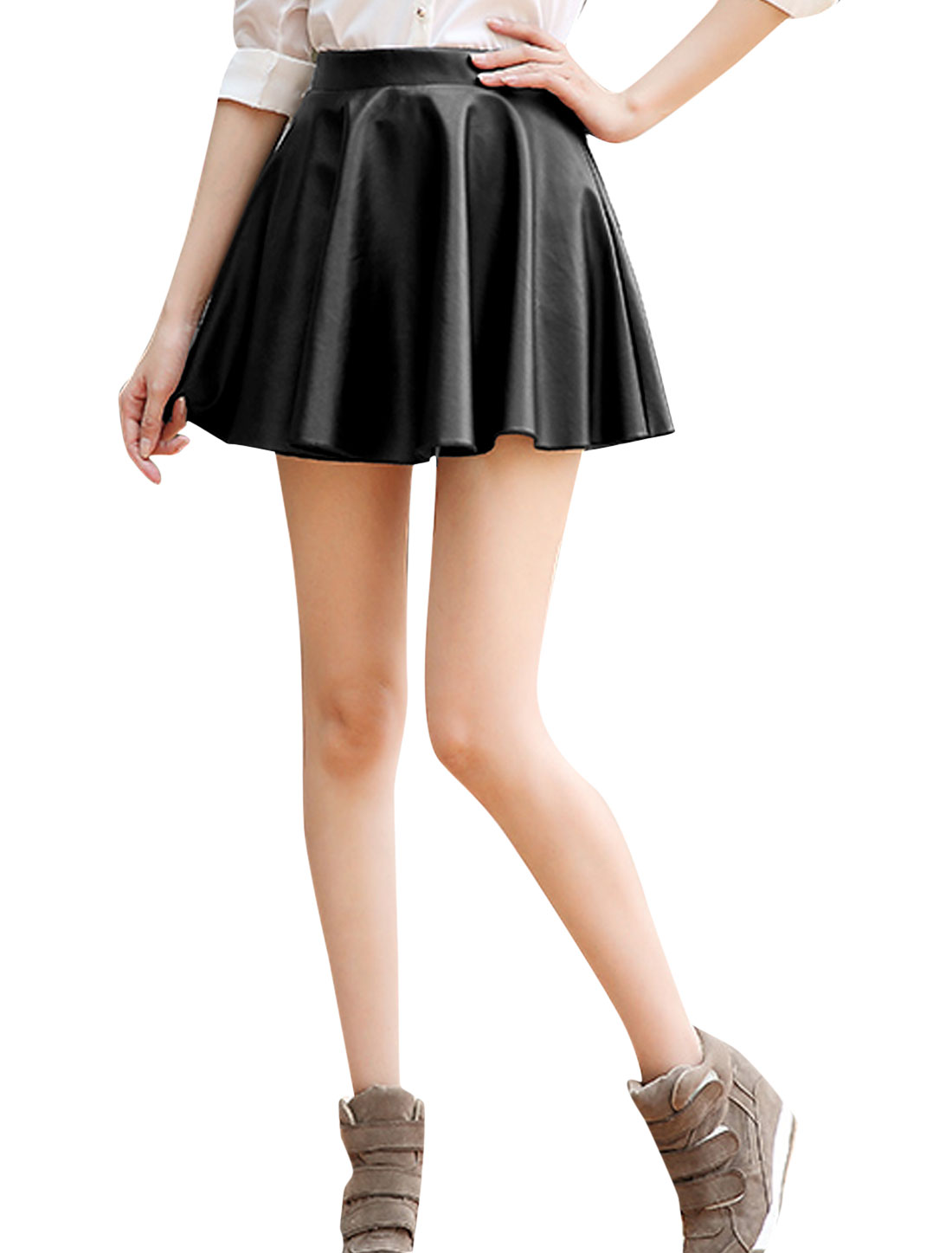 Lady Hidden Zipper Side Imitation Leather Casual Full Skirt Black M
