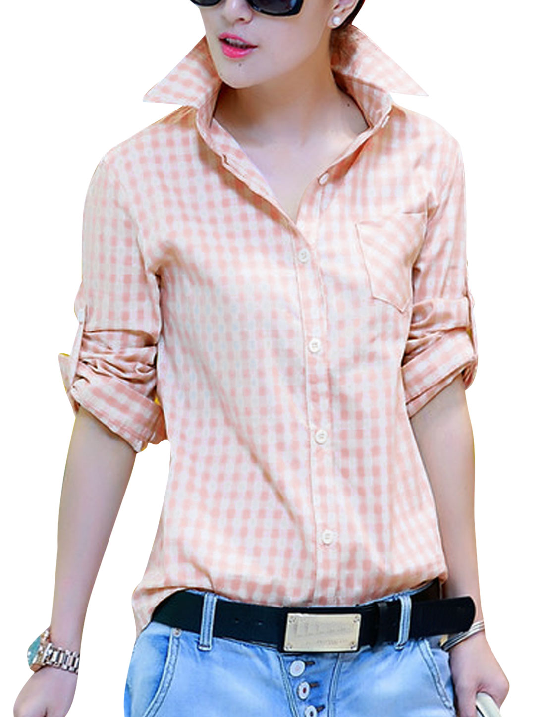 Cozy Fit Stylish One Pocket Chest Casual Shirt for Lady Light Pink S