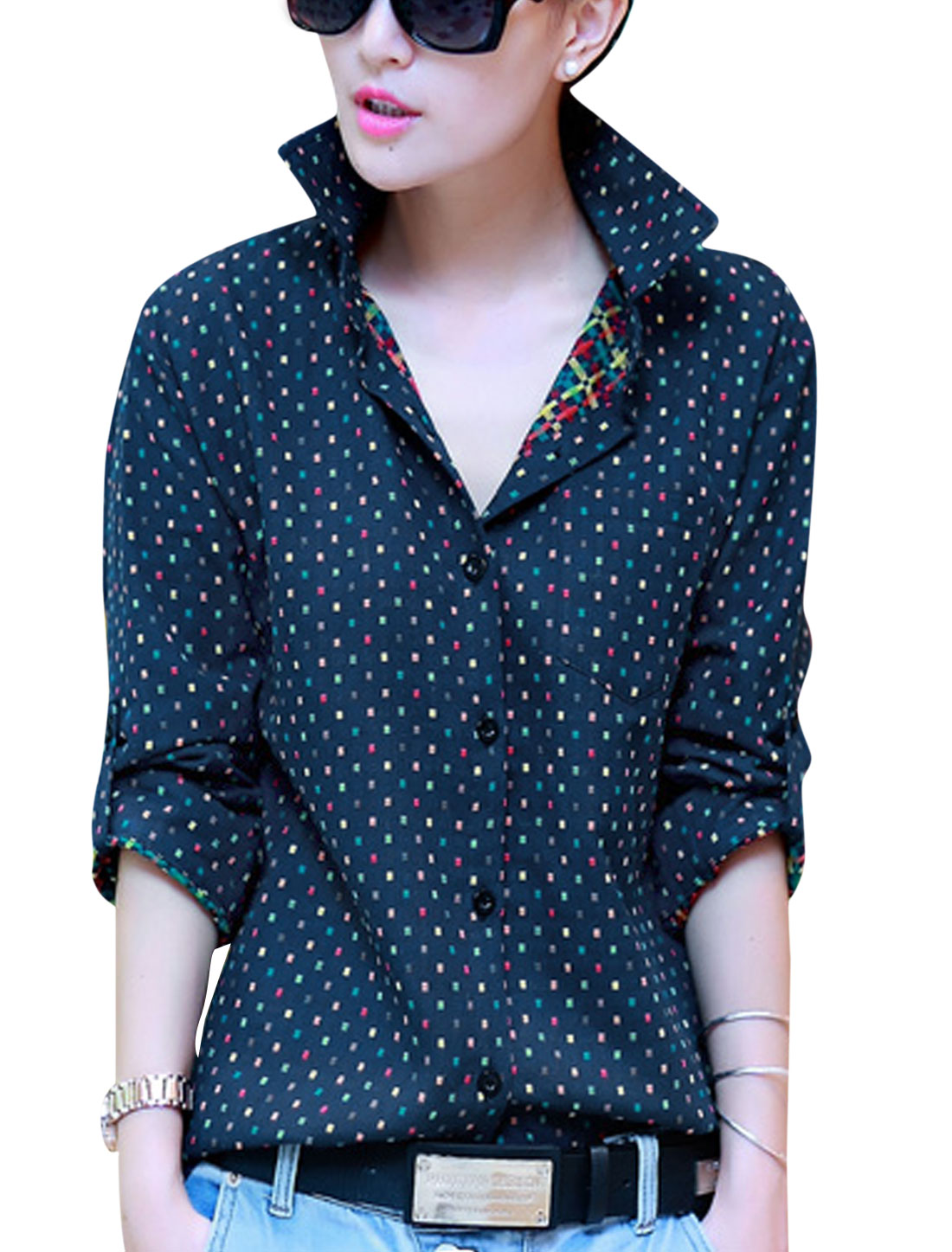 Lady Single Breasted Embroidery Plaids Design Leisure Shirt Navy Blue S