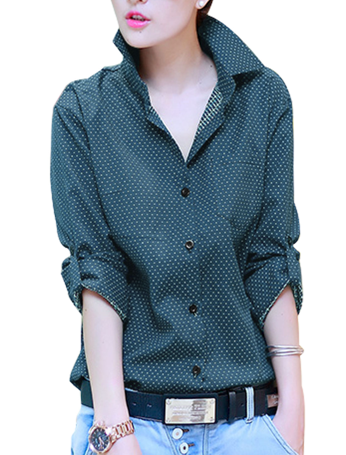 Lady Dots Pattern Button Closure One Bust Pocket Shirt Navy Blue S