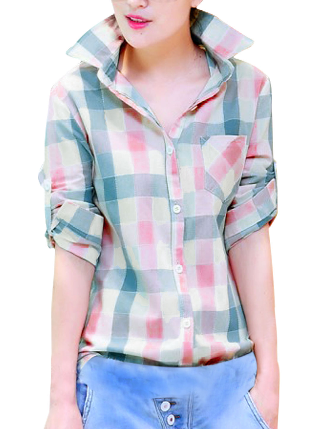 Lady Point Collar Plaids Pattern One Pocket Chest Leisure Shirt Multicolor S