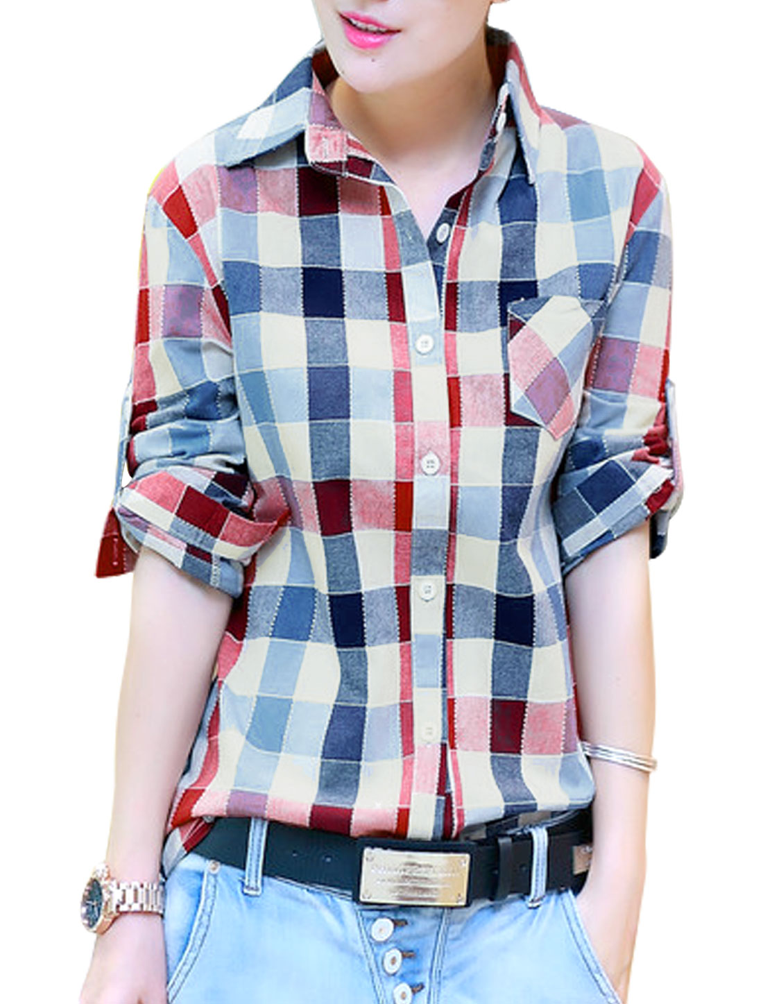 Lady Point Collar Plaids Pattern Single Breasted Casual Shirt Multicolor S