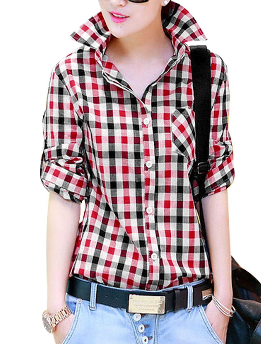 Lady Buttoned Closure Front Plaids Pattern Casual Shirt Black Red S
