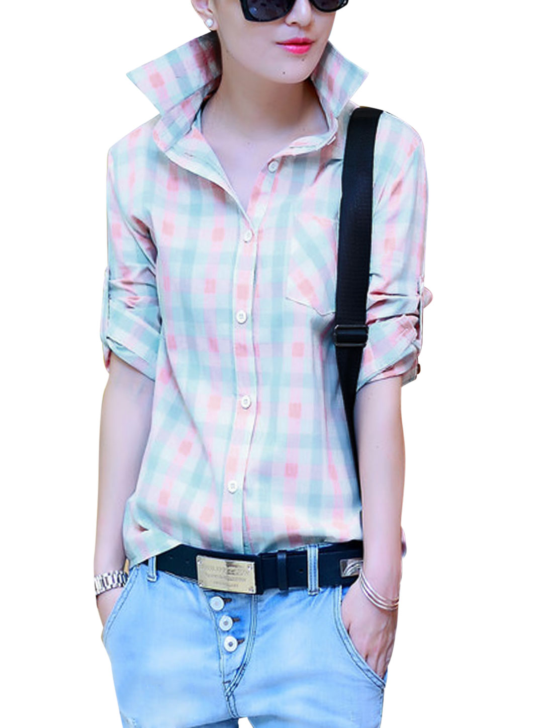 Women Plaids Pattern Single Breasted Chest Pocket Shirt Multicolor S