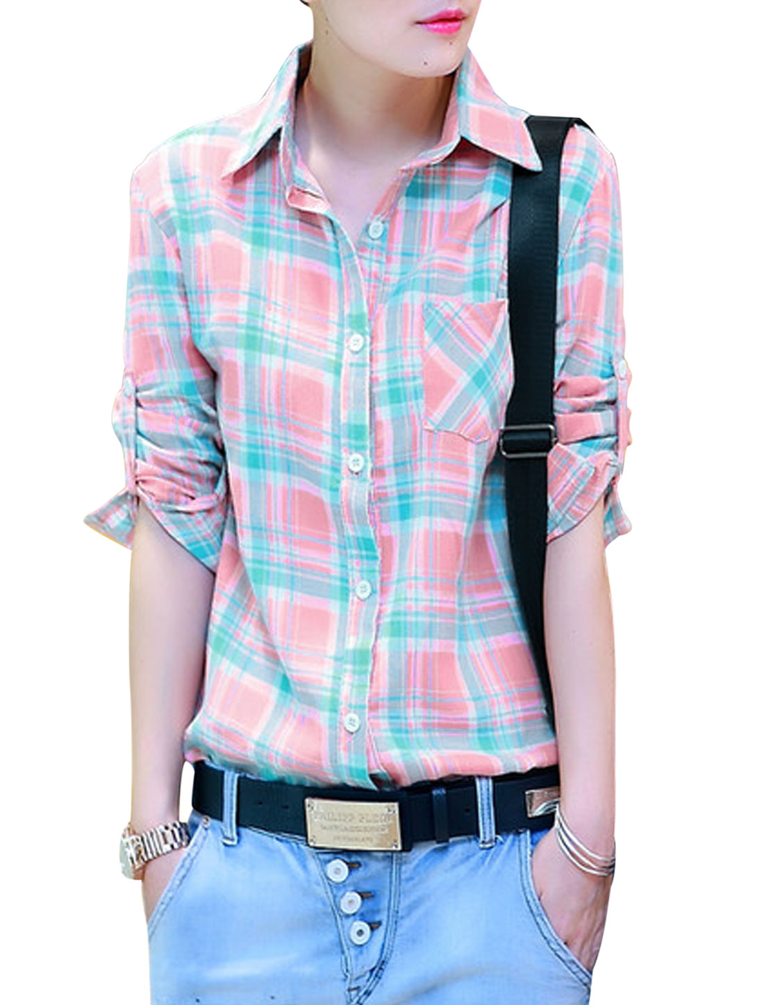 Lady Single Breasted Plaids Pattern One Chest Pocket Shirt Multicolor S