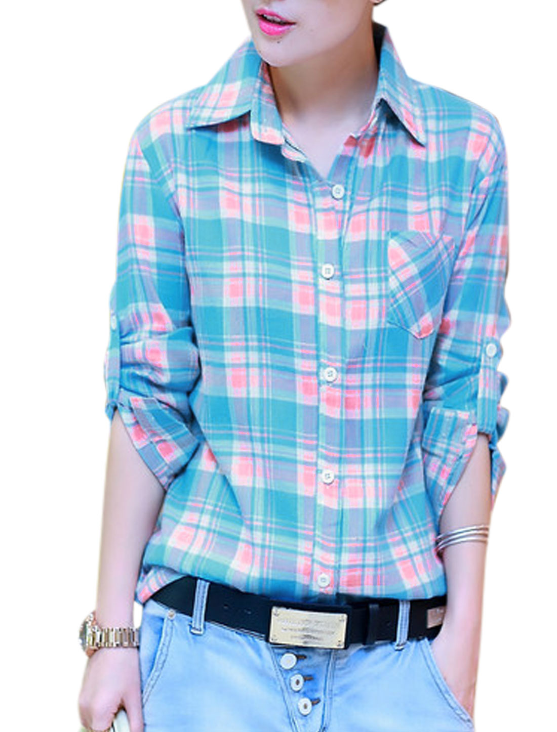 Lady Long Sleeve Plaids Pattern Leisure Shirt Baby Blue Pink S