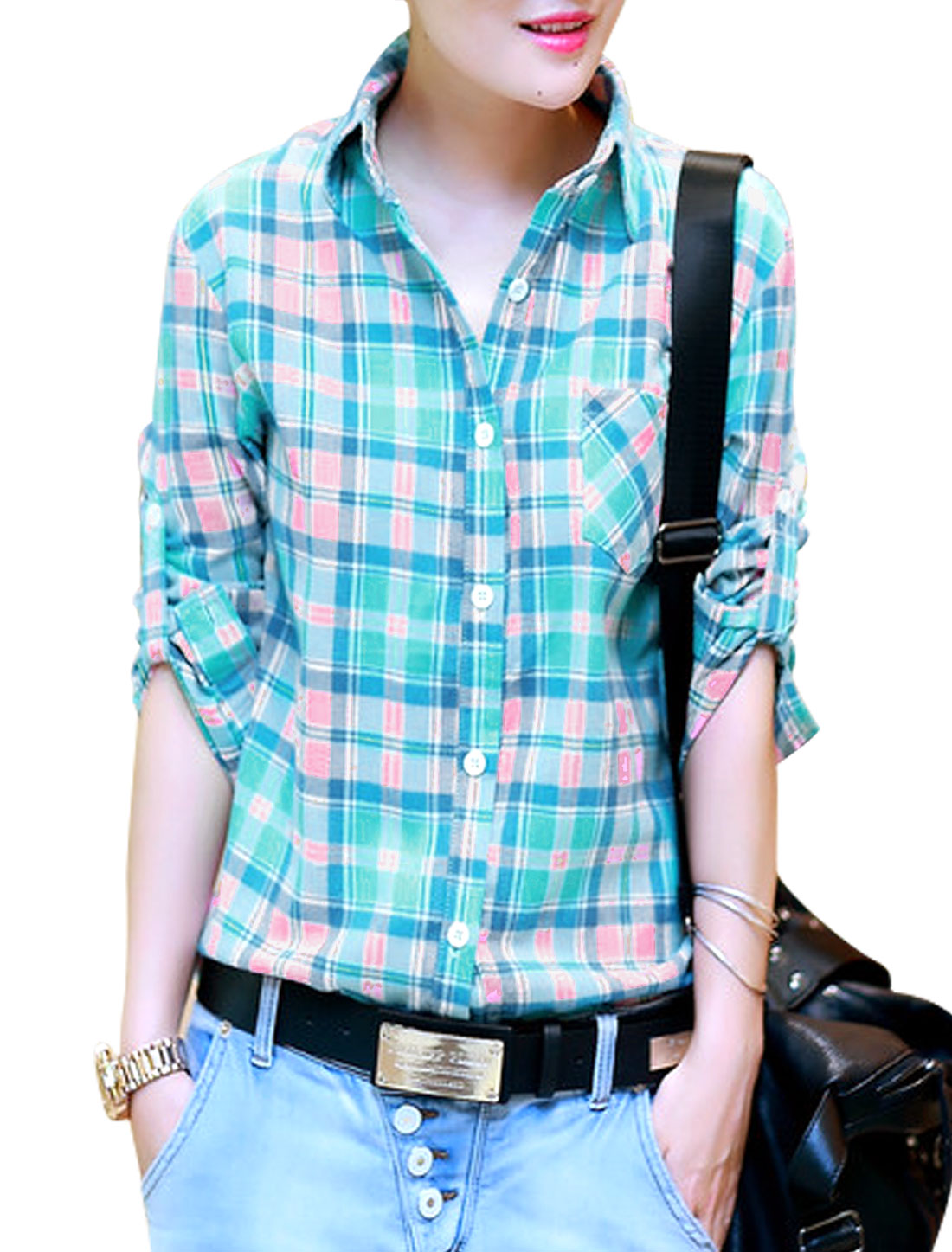 Lady Point Collar Plaids Pattern Button Cuffs Casual Shirt Blue Pink S