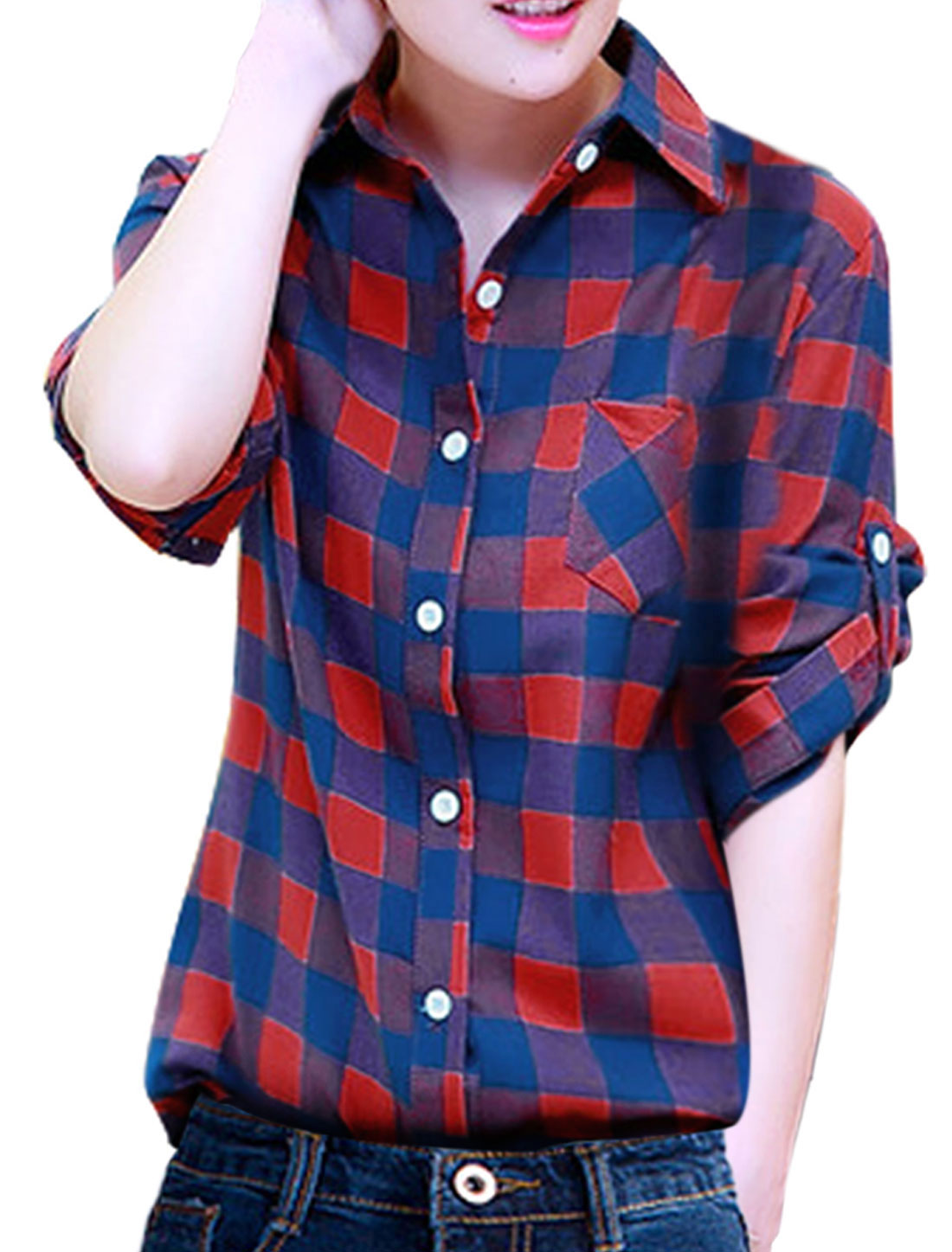 Leisure Single Breasted Plaids Pattern Shirt for Lady Navy Blue Red S
