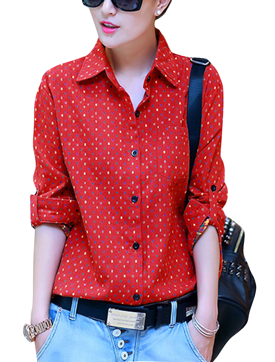 Lady Point Collar Embroidery Plaids Design Casual Shirt Red S