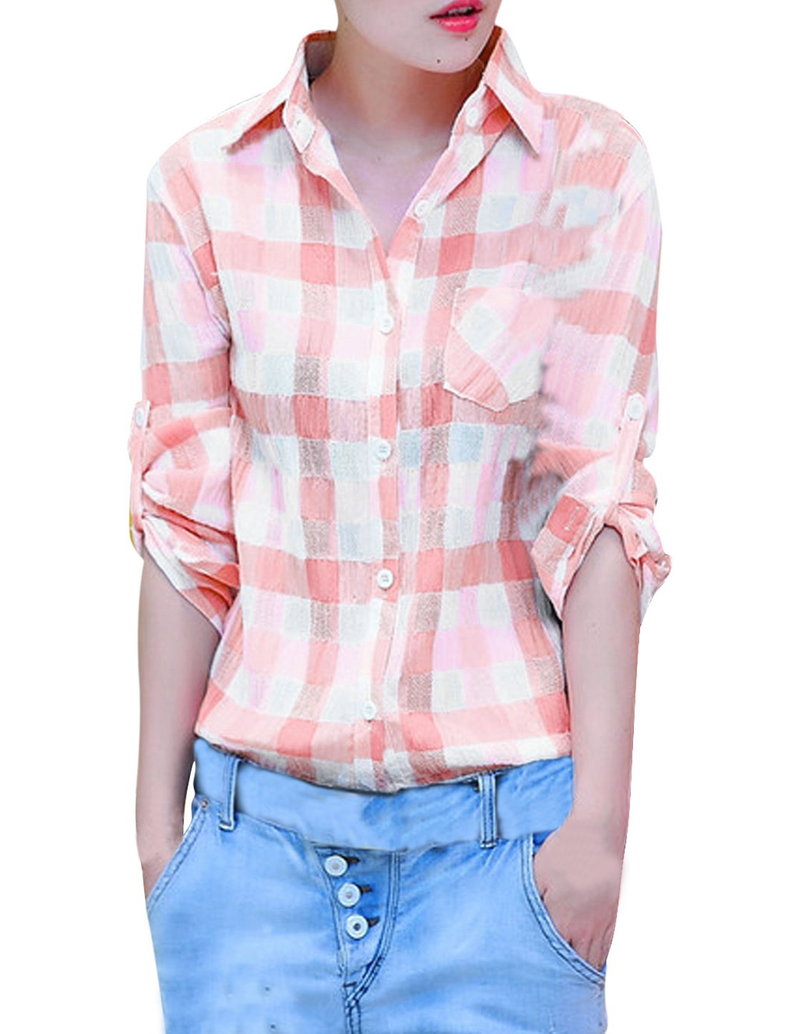 Lady Point Collar Single Breasted Plaids Pattern Soft Shirt Salmon Pink S