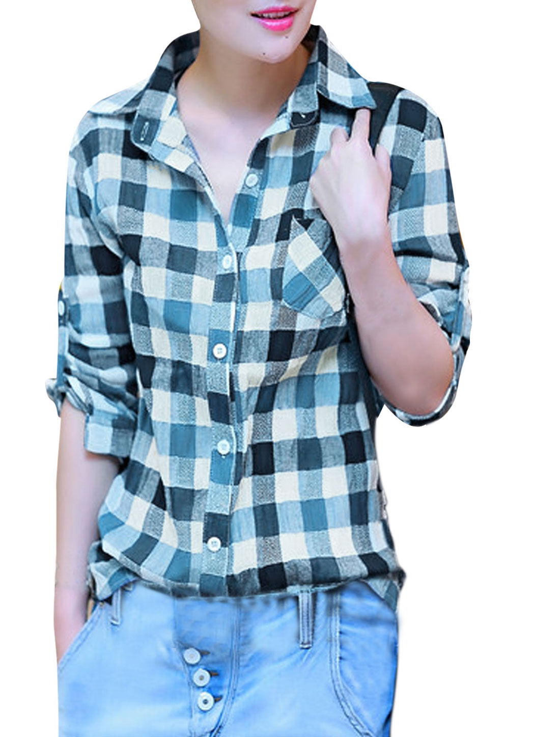 Women One Pocket Chest Plaids Pattern Cozy Fit Shirt Navy Blue White S