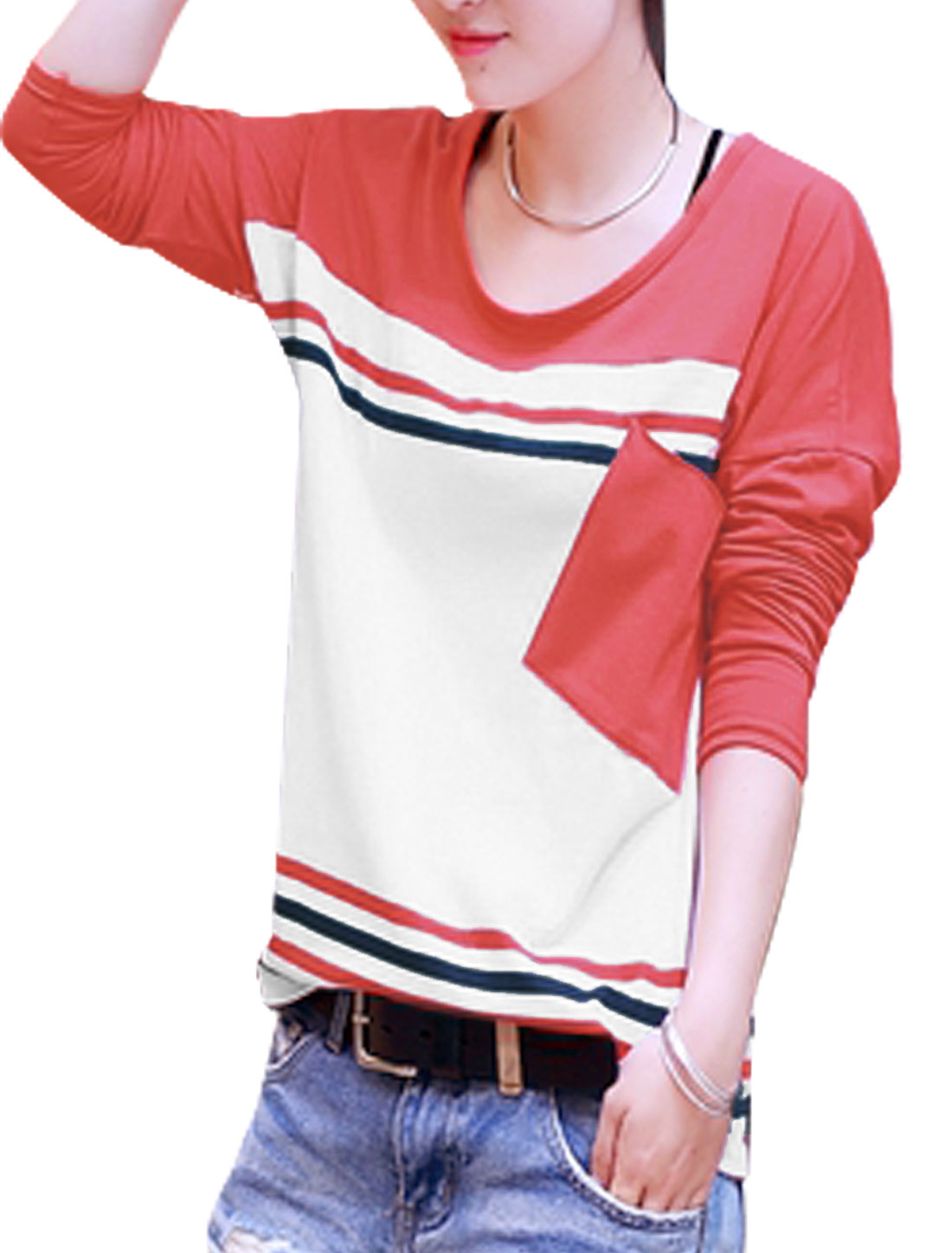 Lady Batwing Sleeve Contrast Color Stripes Slant Pocket Casual Top Red White M