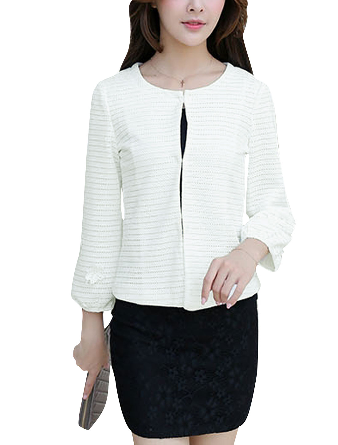 Women 3/4 Lantern Sleeves Flower Applique Chiffon Lined Textured Blazer White M