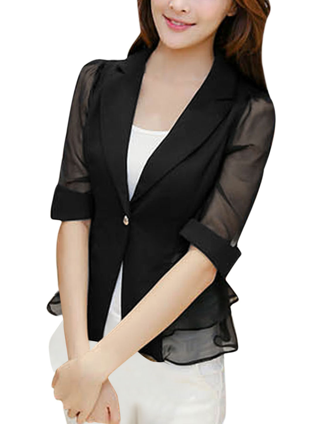 Lady Notched Lapel One Button Closed Casual Blazer Jacket Black M