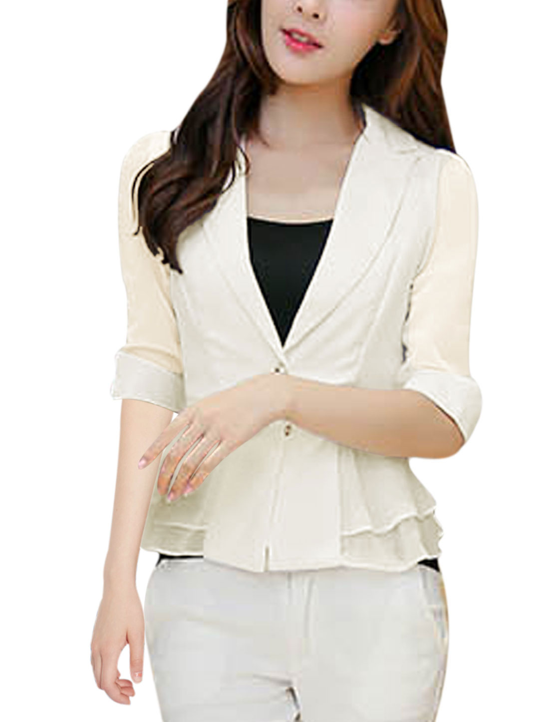 Lady Half Sleeve Flouncing Design Cozy Fit Blazer Jacket White M