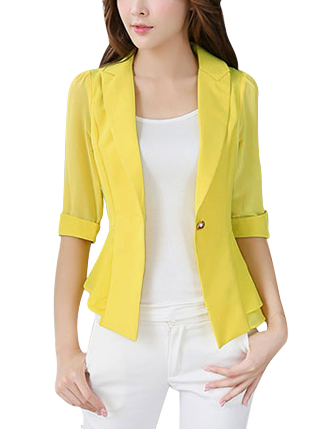 Lady Notched Lapel Chiffon Panel Casual Blazer Jacket Yellow M