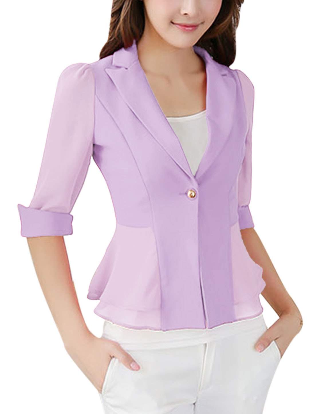 Lady Notched Lapel Flouncing Design Chiffon Panel Blazer Jacket Lavender S