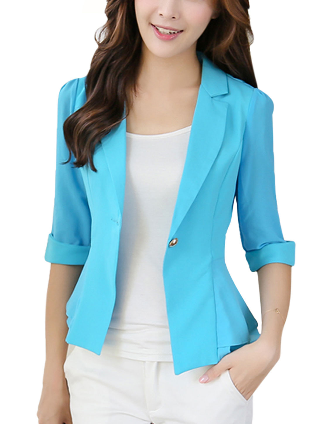 Slim Fit Casual One Button Closed Blazer Jacket for Lady Light Blue M