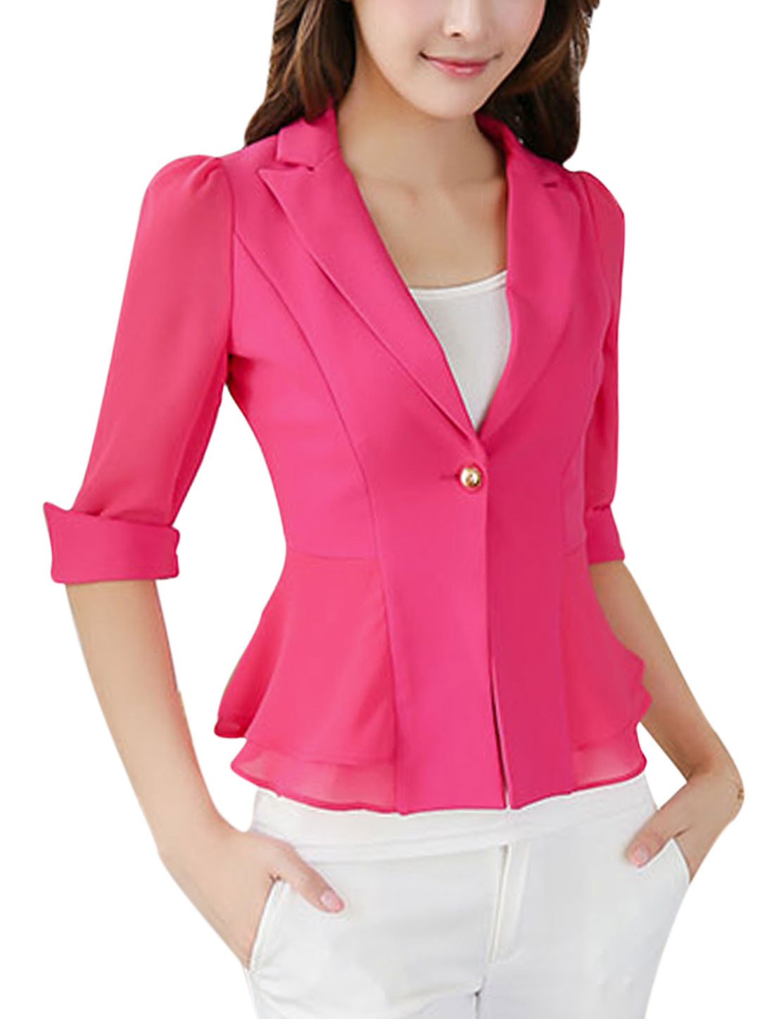 New Style Slim Fit Notched Lapel Chiffon Panel Blazer Jacket for Lady Fuchsia