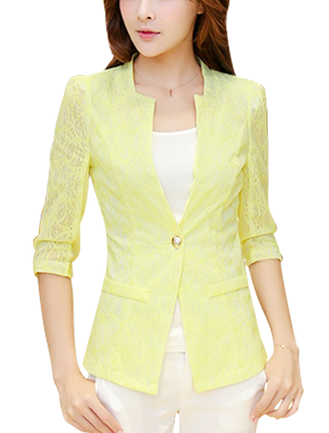 Women One Button Closed Fake Pockets Front Casual Blazer Jacket Light Yellow M