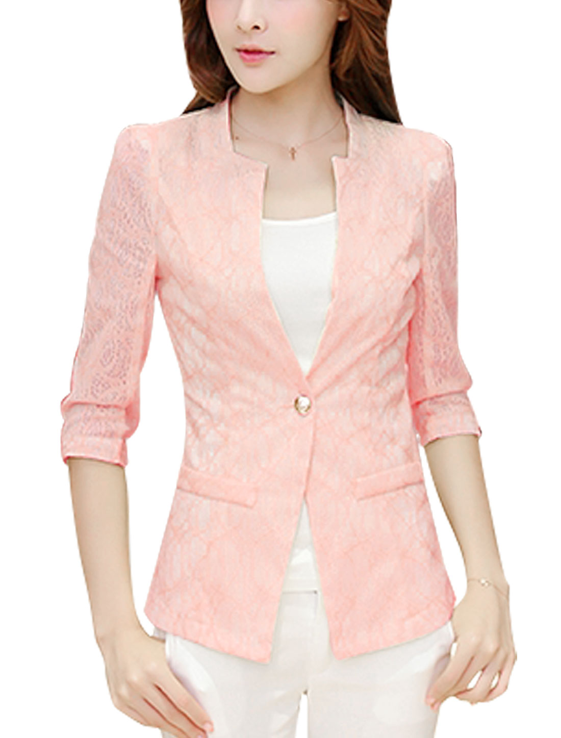 Women Half Sleeve One Button Closed Cozy Fit Blazer Jacket Pink M