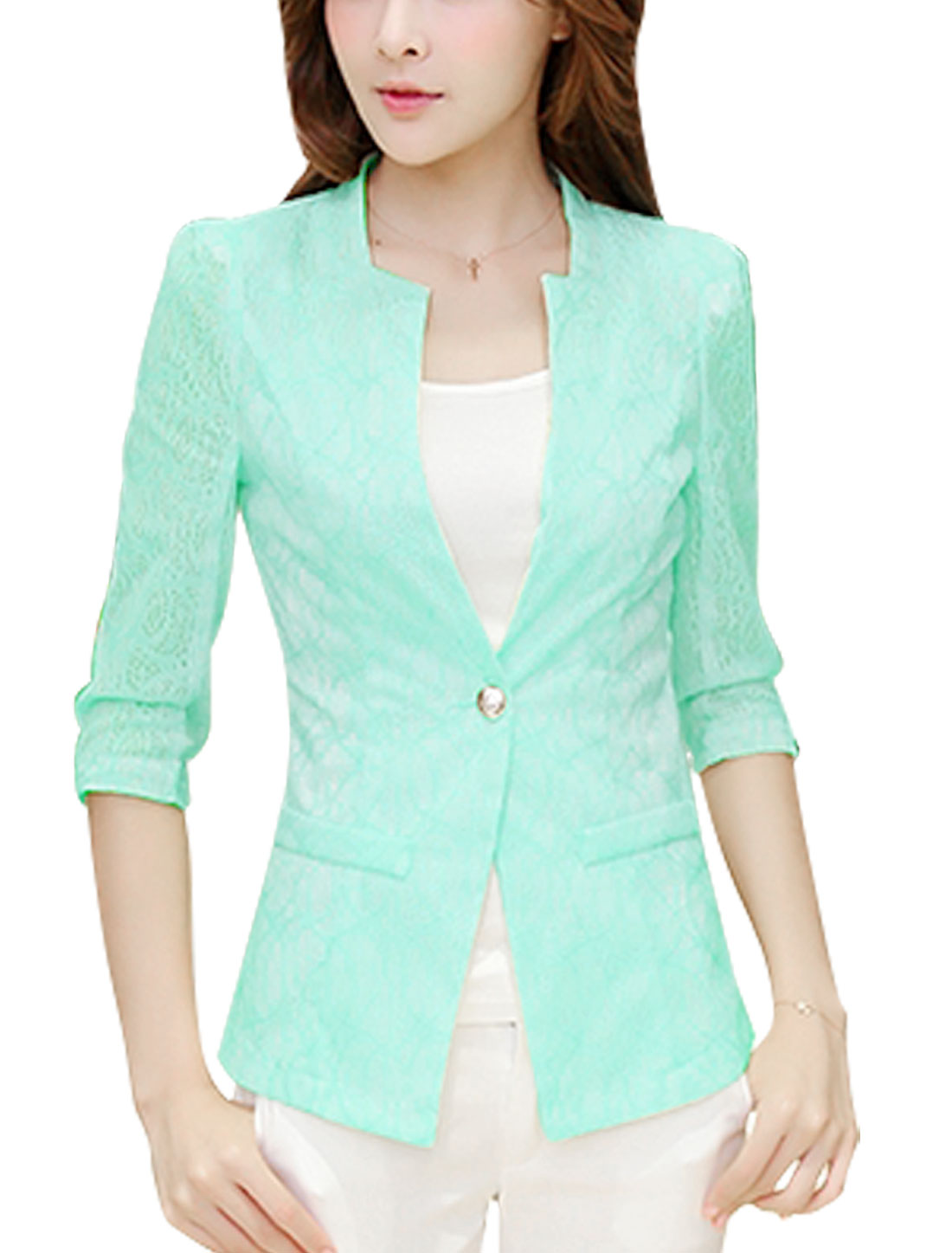 Slim Fit Casual Half Sleeve One Button Closed Blazer Jacket for Lady Light Blue M