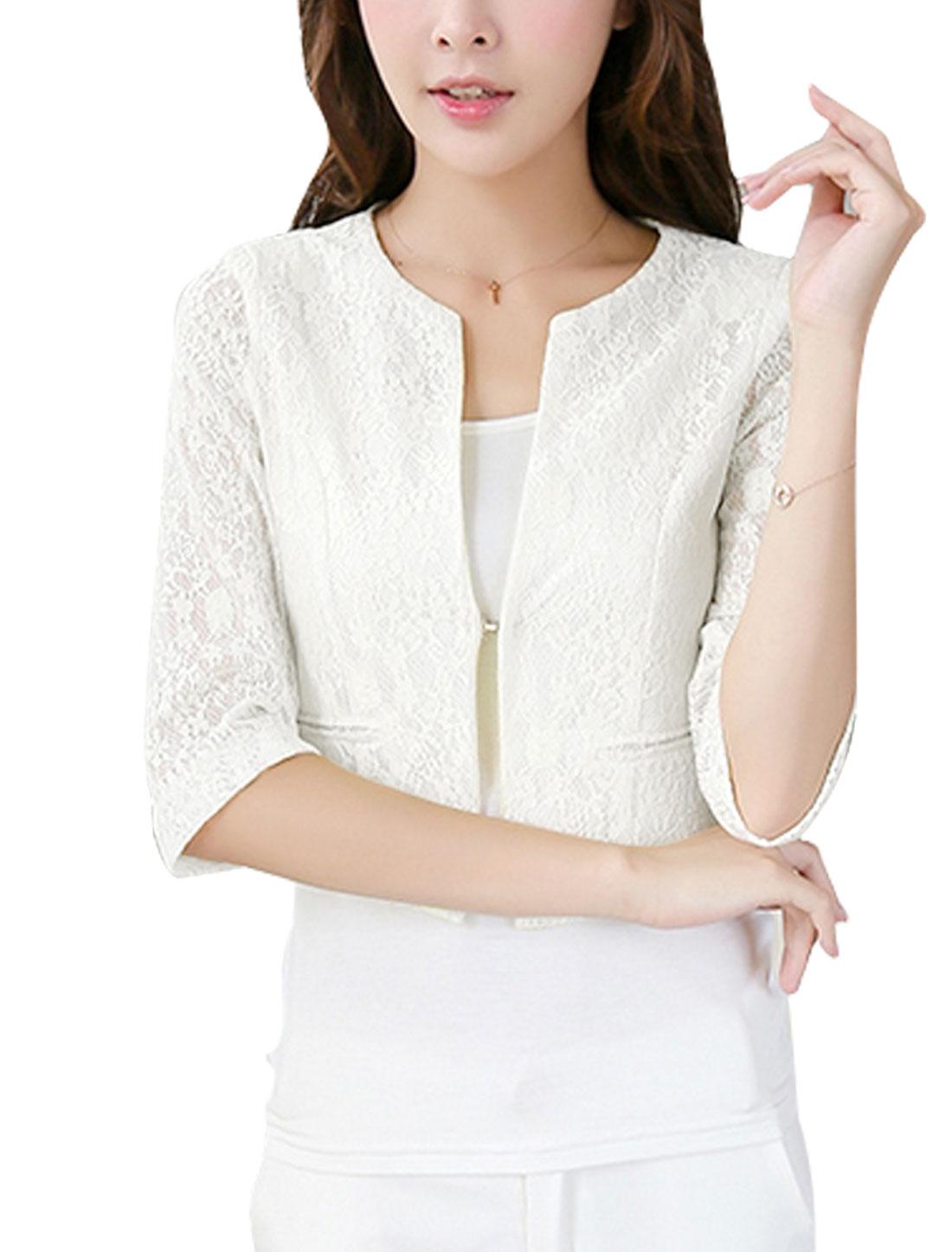 Women Hook Eye Closure Fake Pockets Lace Short Blazer Jacket White M