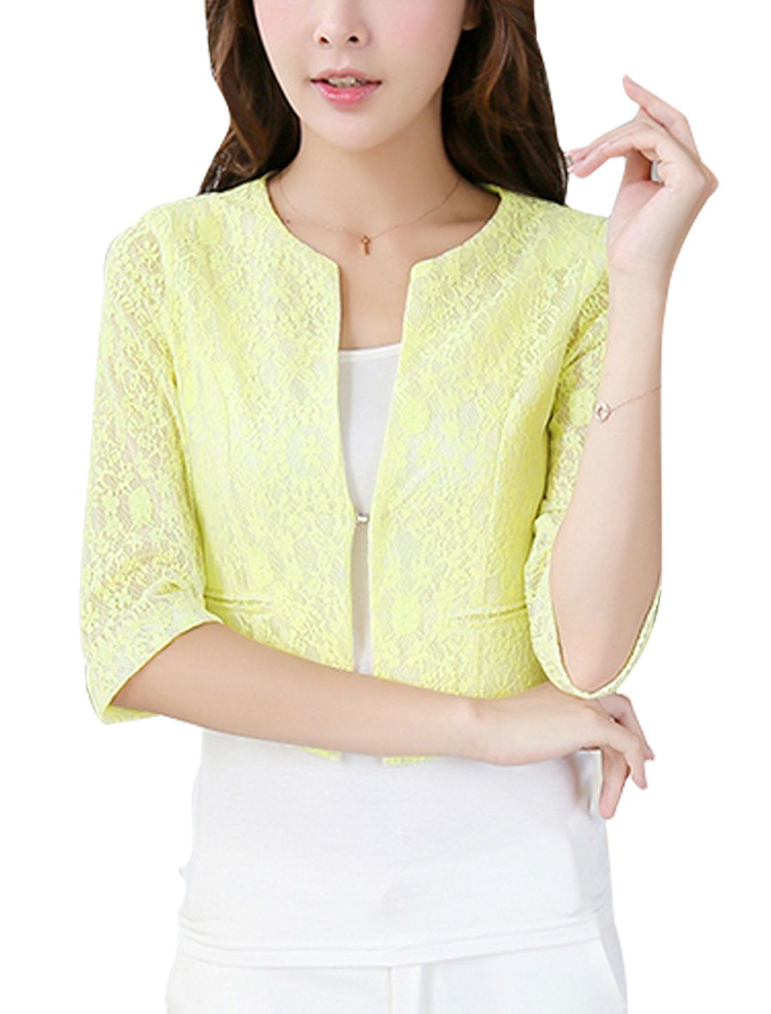 Lady Hook Eye Closure Front Semi Sheer Short Blazer Jacket Light Yellow M