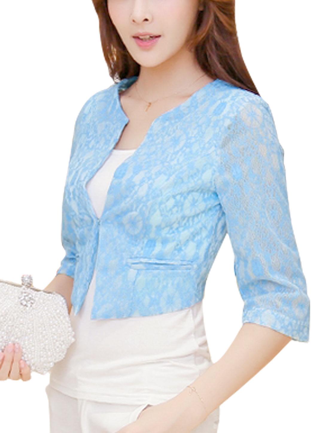 Women Korean Style Hook Eye Closure Lace Short Blazer Jacket Sky Blue M