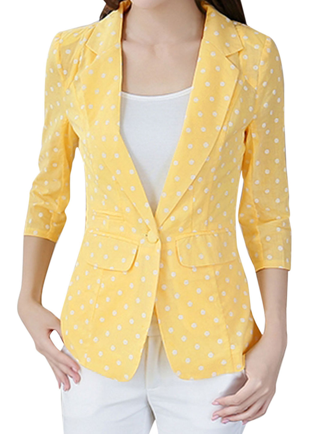 Ladies Notched Lapel Flap Pockets Dots Print Casual Linen Blazer Light Yellow L