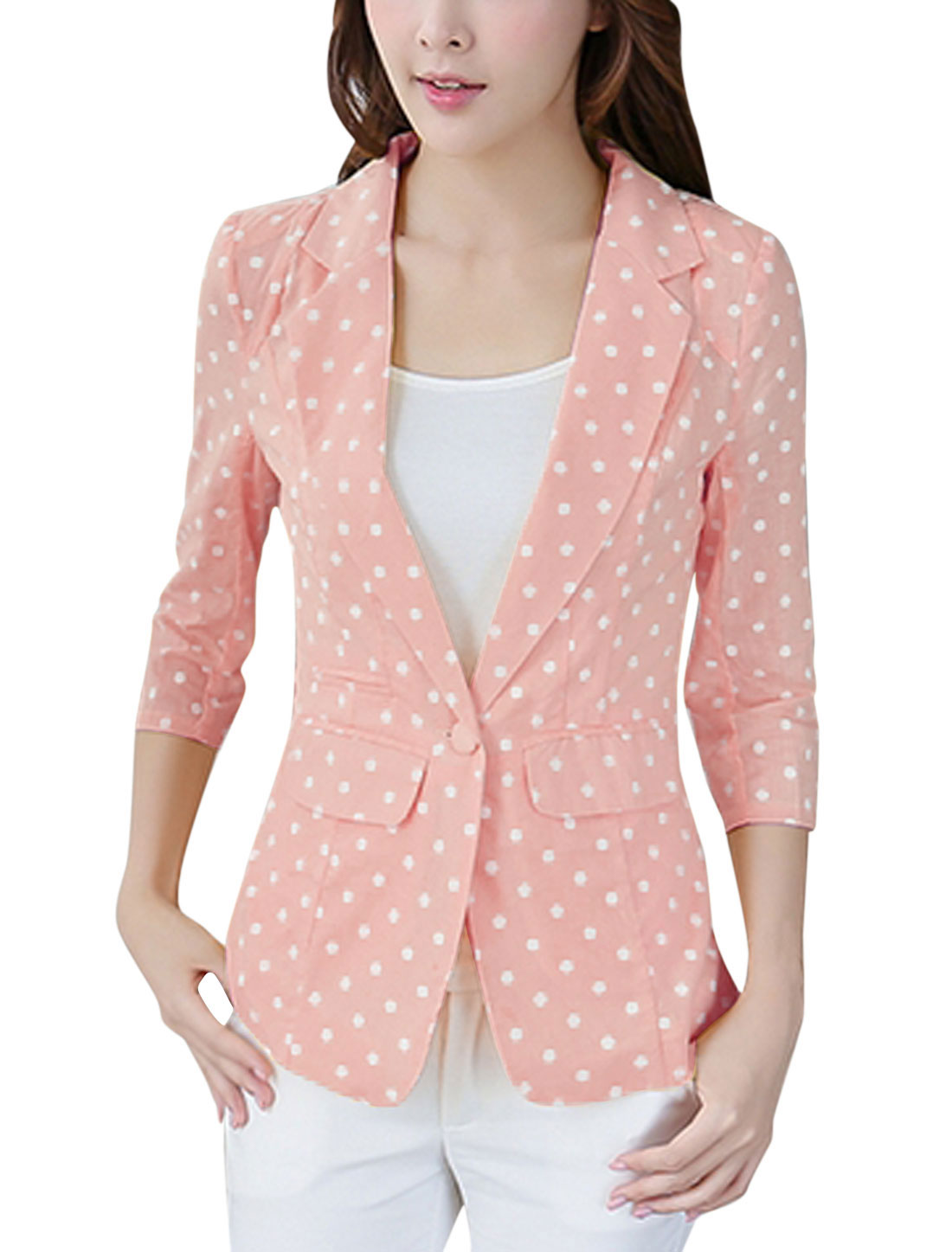 Ladies Notched Lapel One Button Closed Dots Print Casual Linen Blazer Pink L