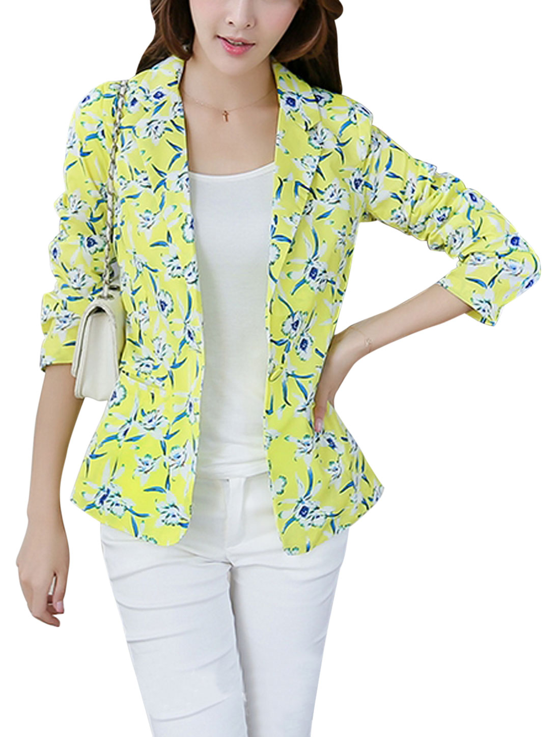 Lady Autumn Notched Lapel Floral Print Lined Back Vent Light Blazer Light Yellow M