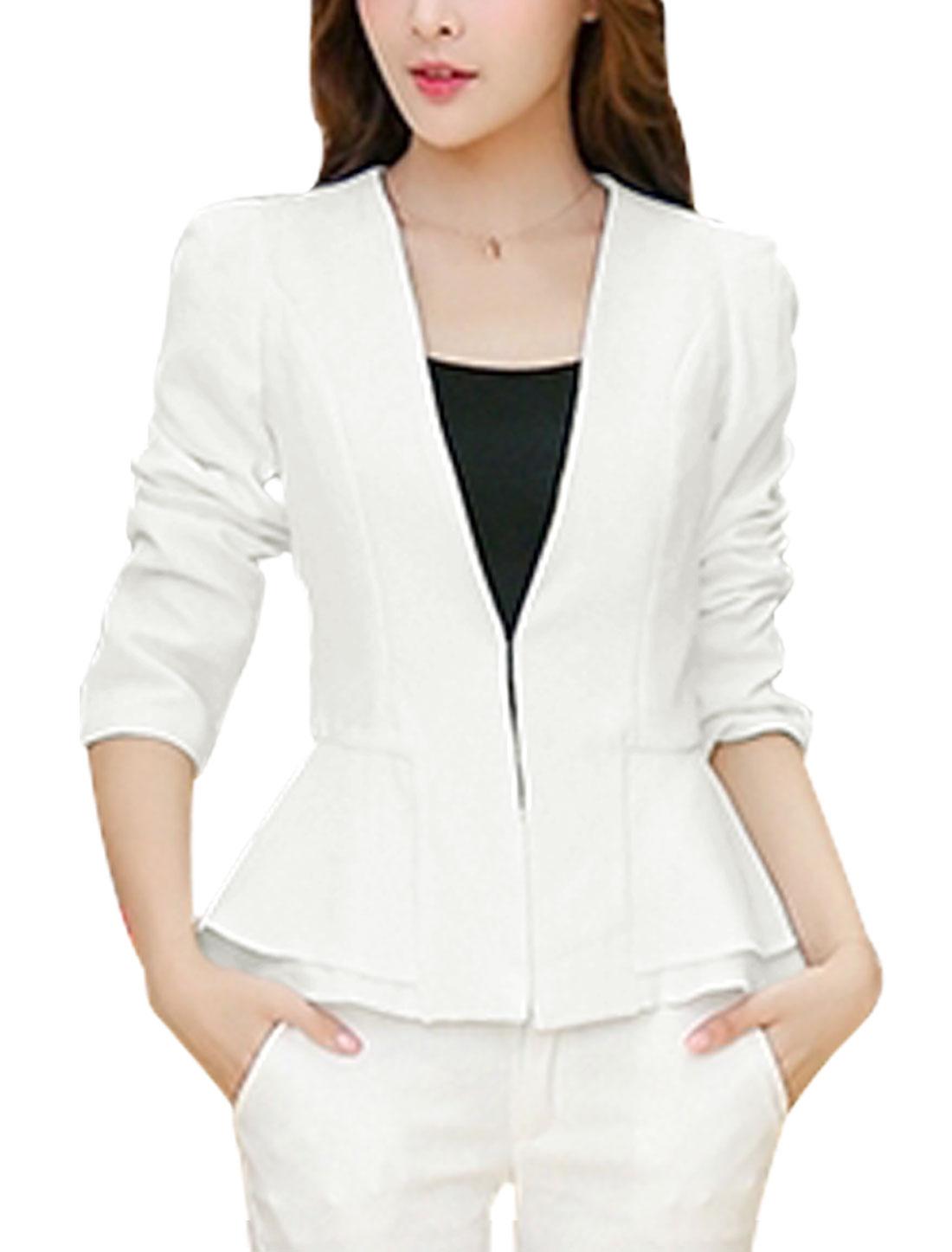 Women Hook Eye Closure Front Button Tab Back Peplum Blazer Jacket White M