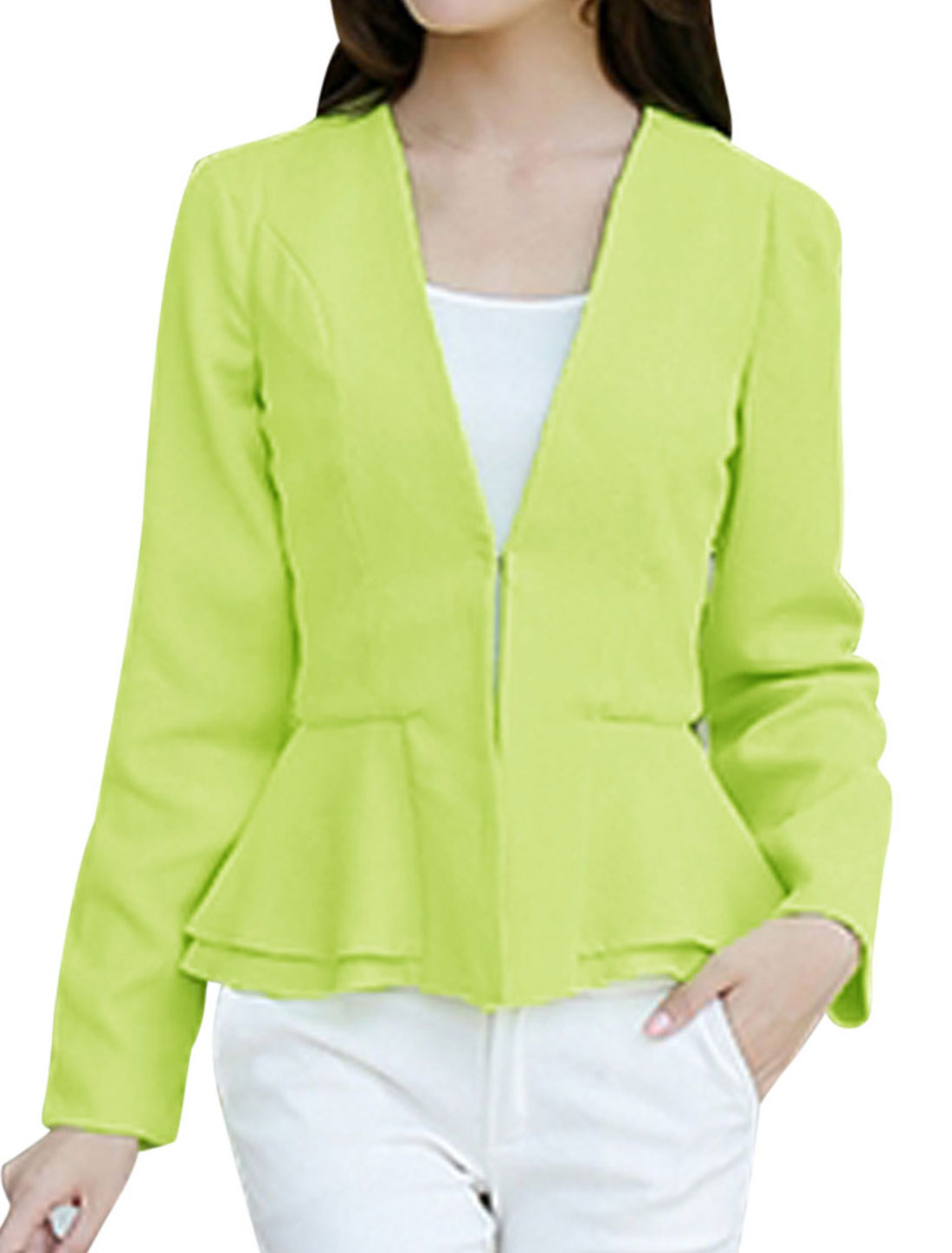 Lady Korean Style Slim Hook Eye Closure Peplum Blazer Jacket Lime M