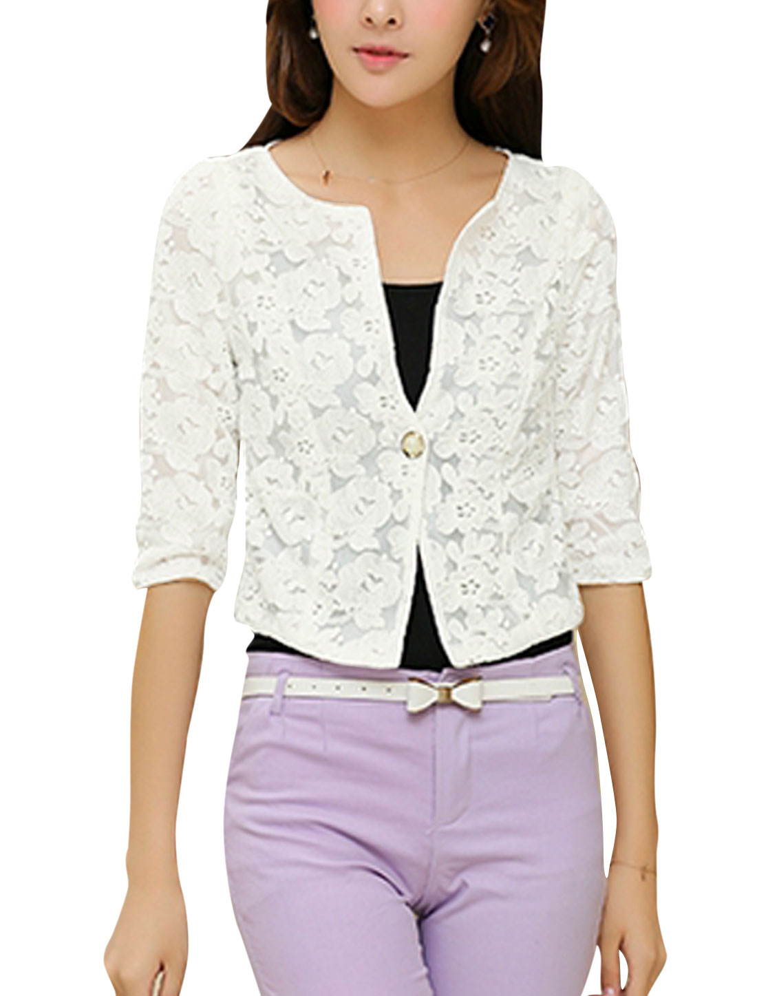 Women Half Sleeves Chiffon Lined Flower Embroidery Cropped Lace Blazer White M