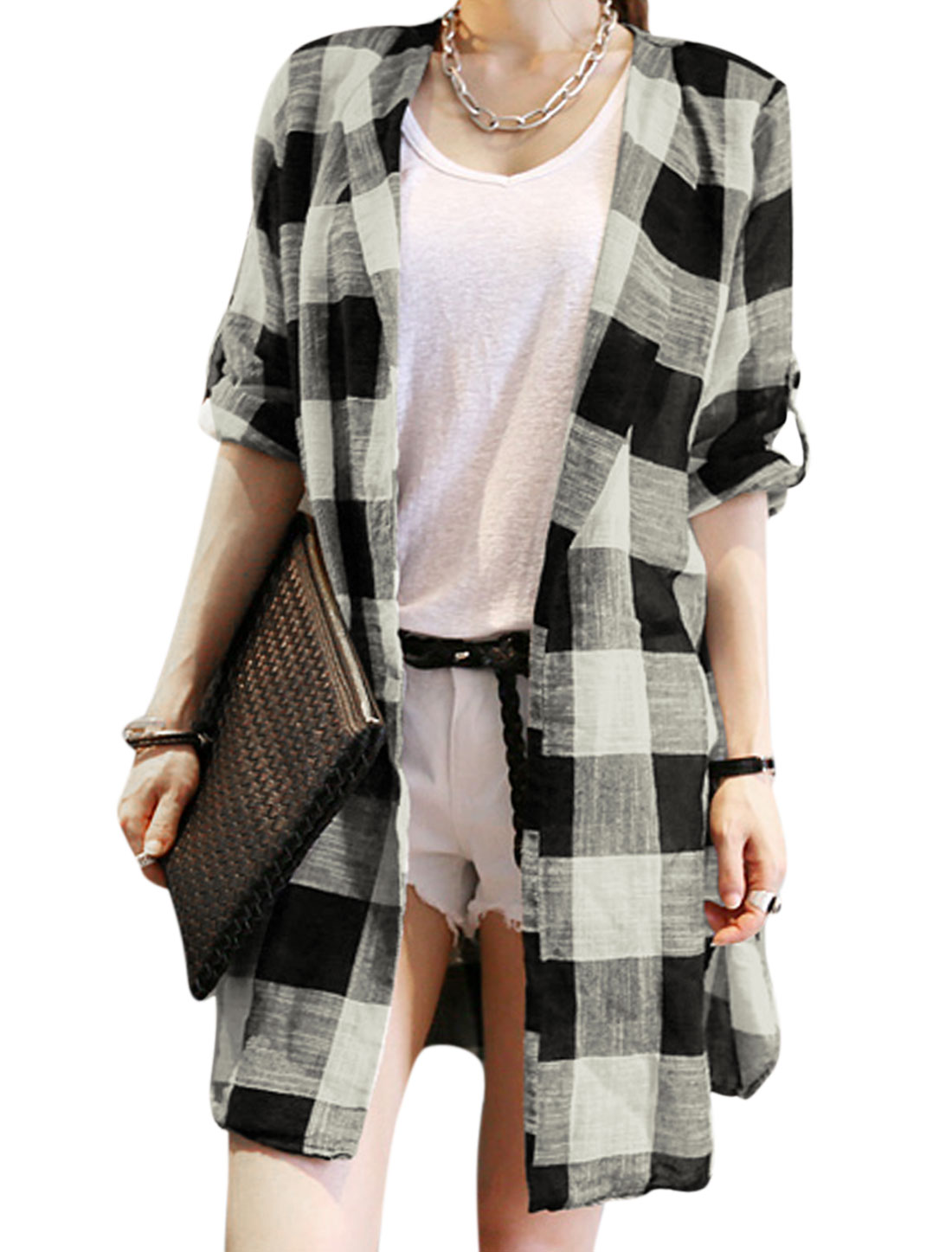 Lady Plaids Pattern Front Opening Casual Cardigan Multicolor S