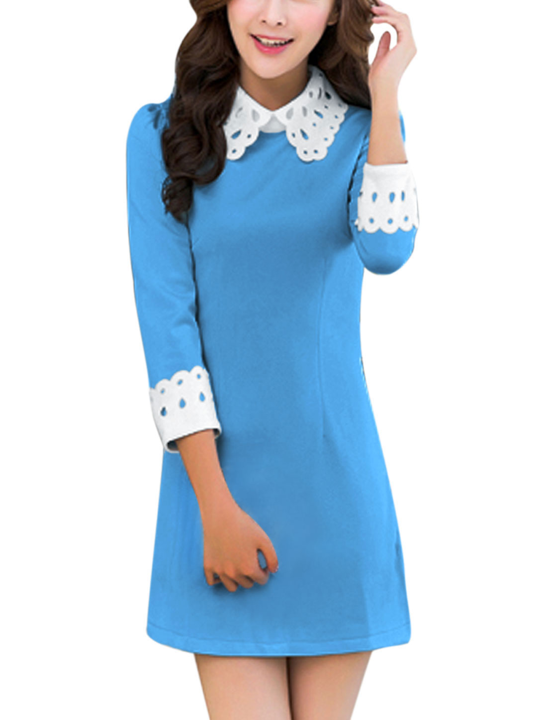Lady 3/4 Sleeve Hollow Out Peter Pan Collar Casual Dress Blue M