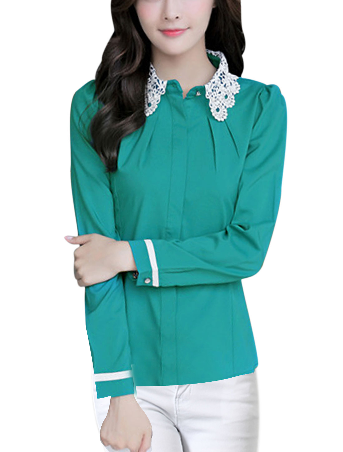 Lady Long Sleeve Round Hem Single Breasted Casual Shirt Sea Green L