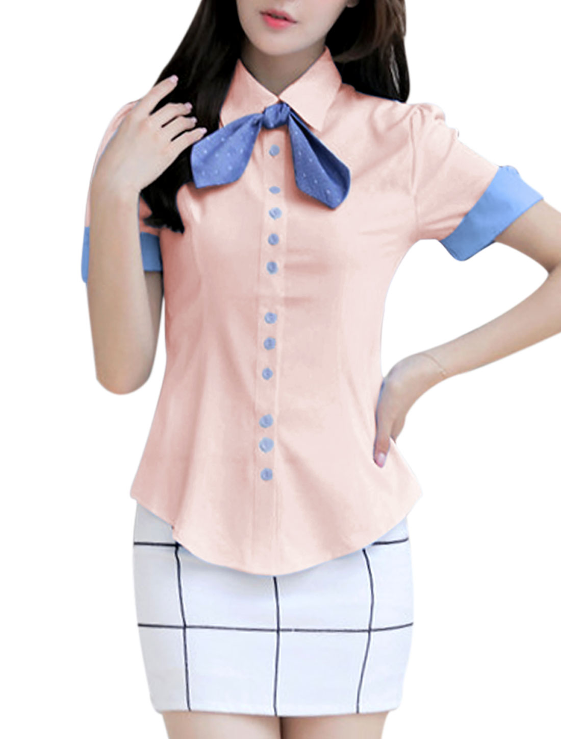 Lady Short Sleeve Single Breasted Round Hem Shirt w Self Bow Tie Pink L