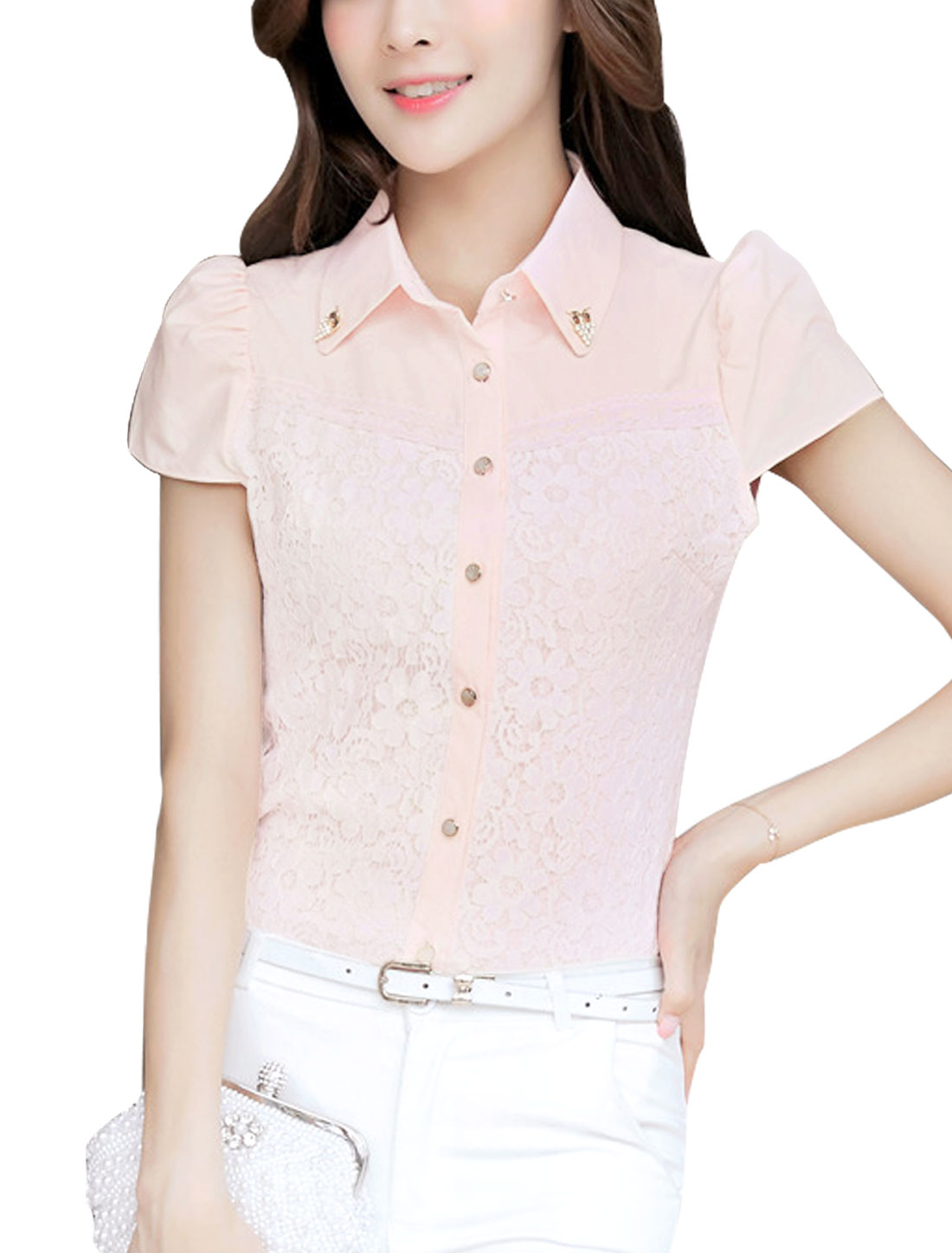 Lady Lace Panel Shirt w Removable Rhinestones Decor Pink L