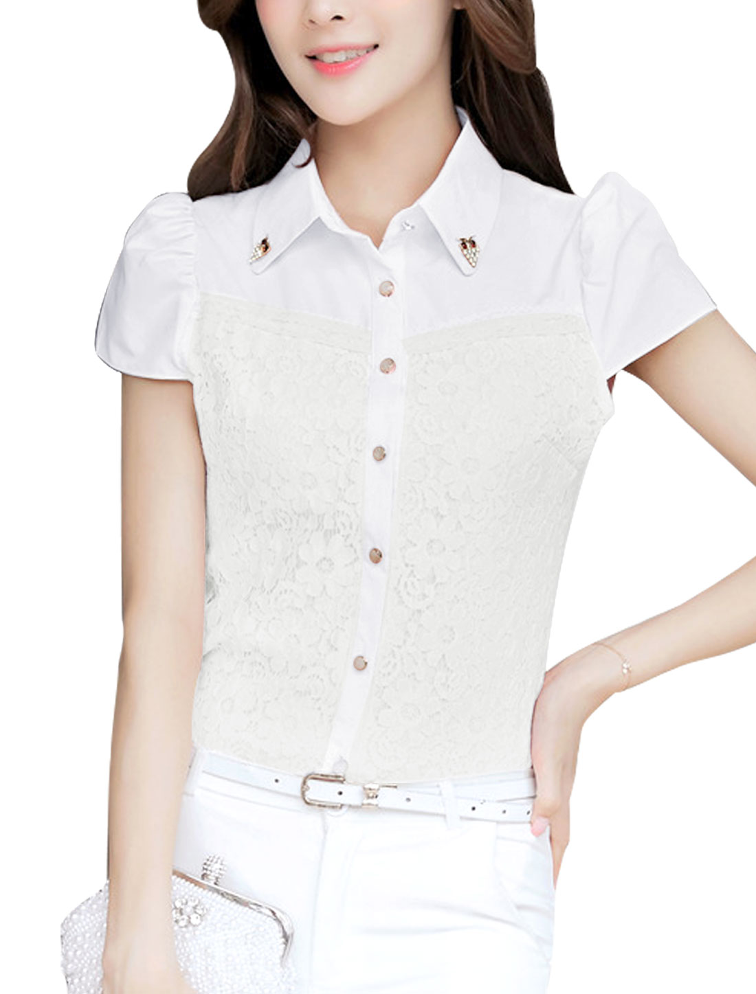 Women Button Closure Shirt w Removable Rhinestones Decor White L