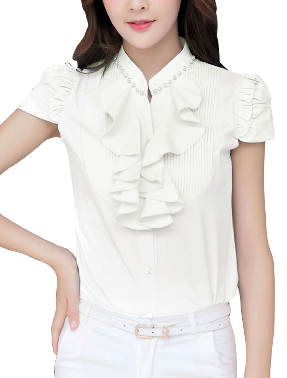 Lady Stand Collar Single Breasted Pleated w Ruffles Front Shirt White M