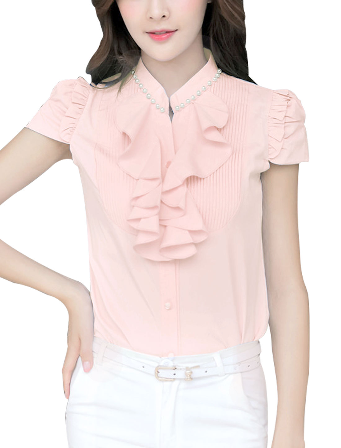 Women Sweet Style Pleated w Ruffles Front Casual Shirt Pink M