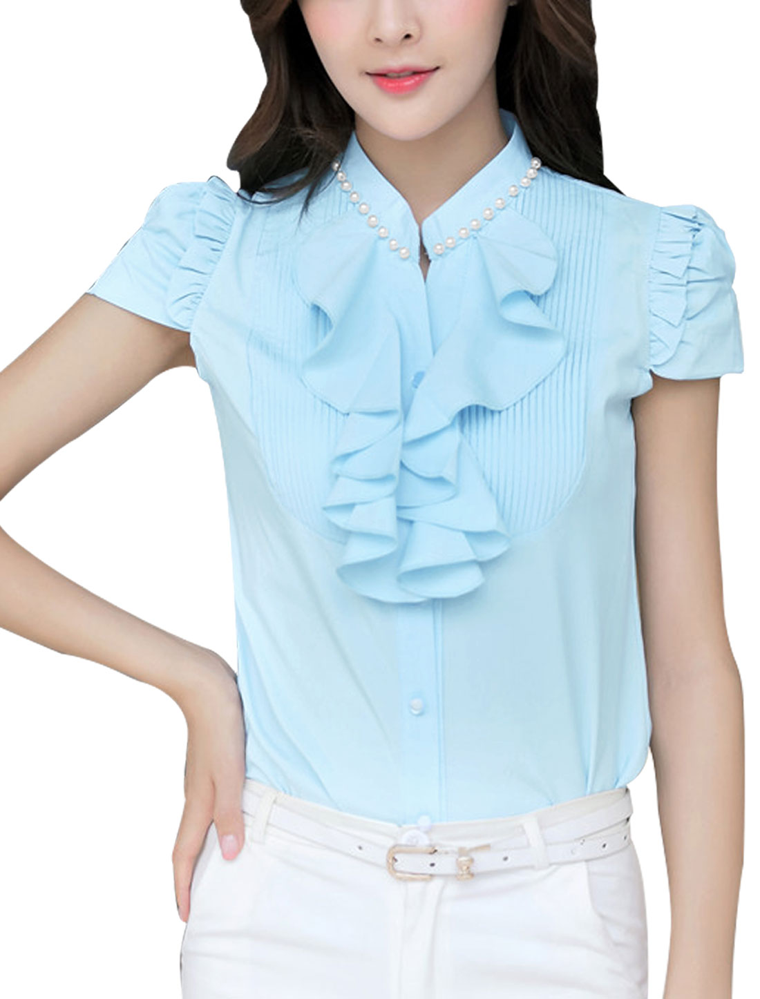Lady Button Closure Front Stand Collar Casual Shirt Light Blue M