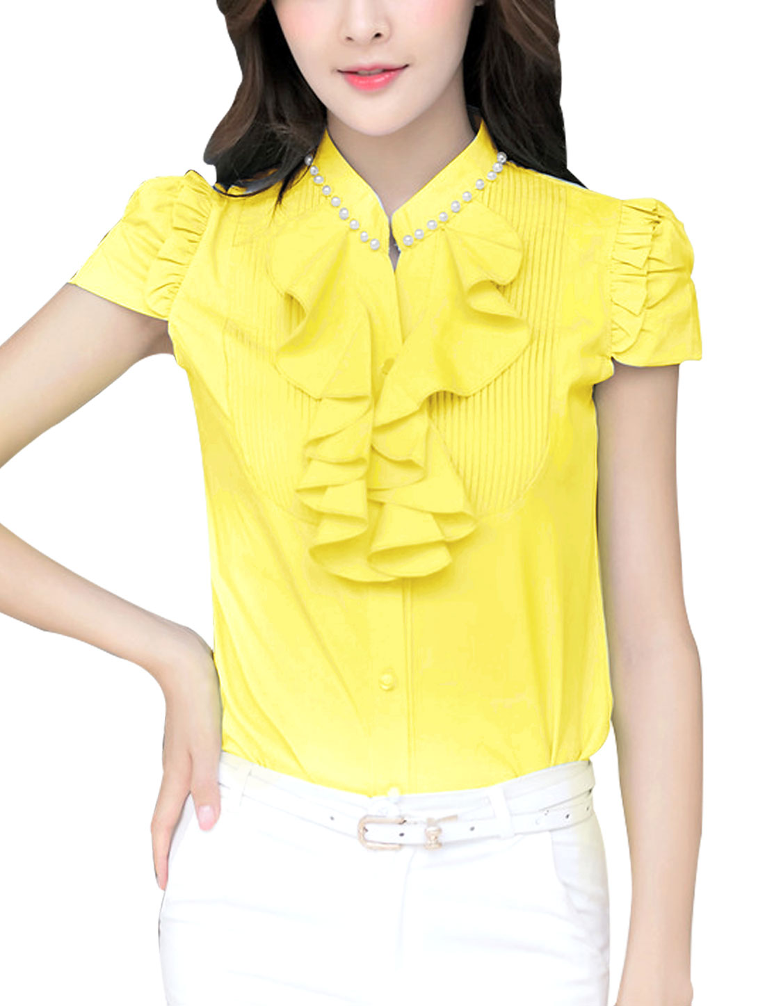 Women Beads Decor Stand Collar Round Hem Casual Shirt Yellow M