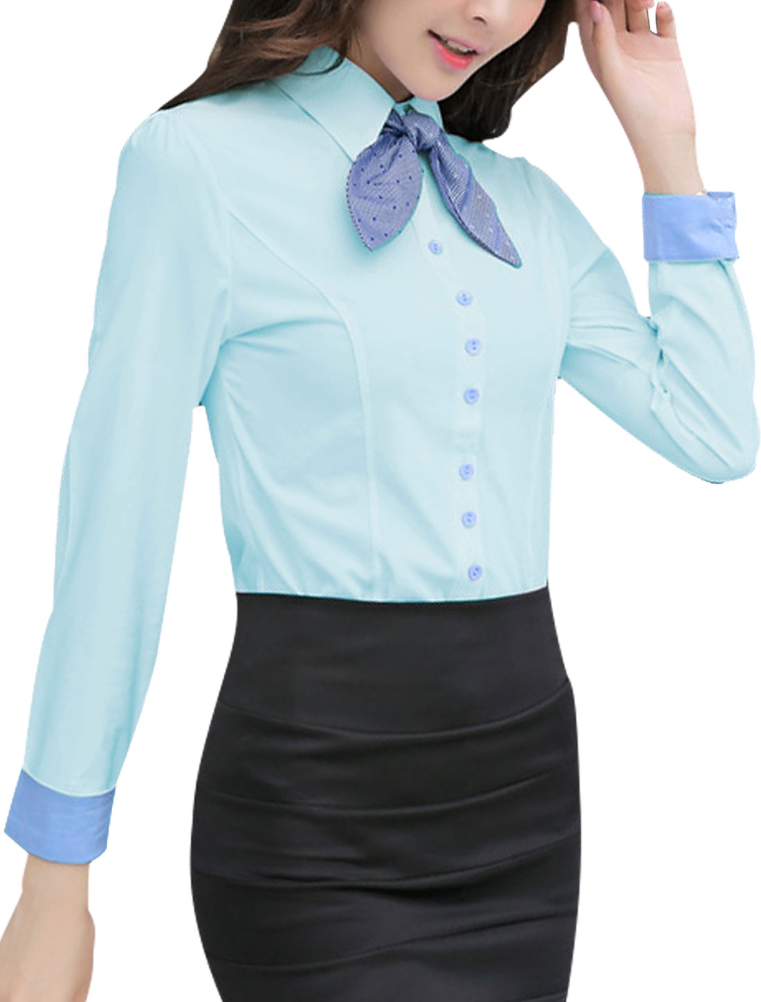 Lady Point Collar Round Hem Shirt w Removable Bow Tie Light Blue L